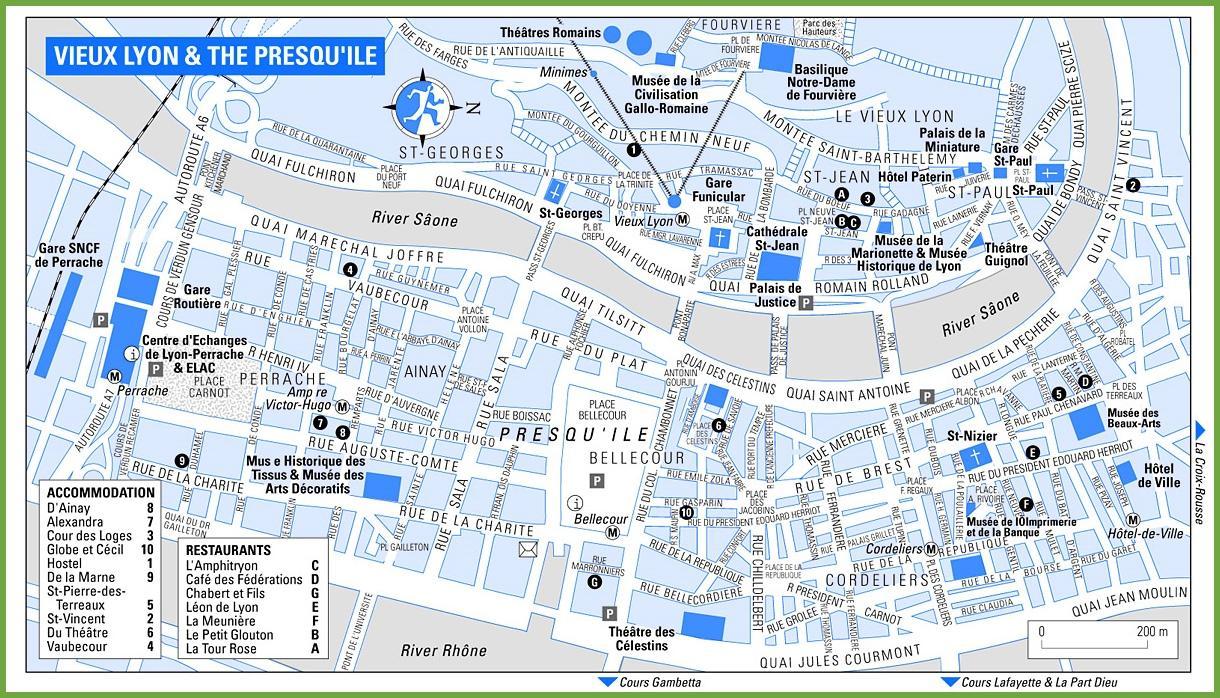 Carte Lyon centre   Carte de Lyon centre (Auvergne Rhône Alpes