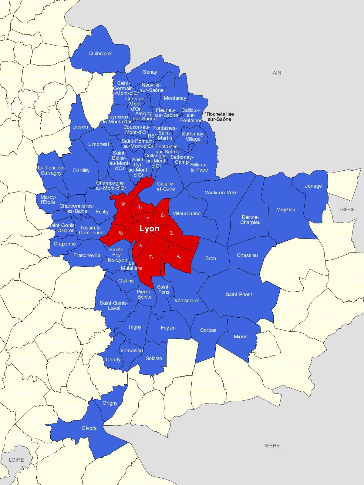 Carte de Lyon et environs   Carte de la région de Lyon (Auvergne