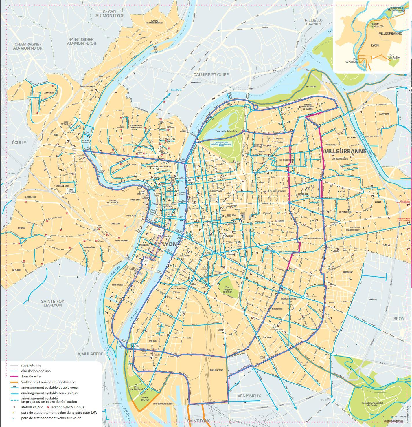 Lyon le vélo carte   carte de Lyon à vélo (Auvergne Rhône Alpes