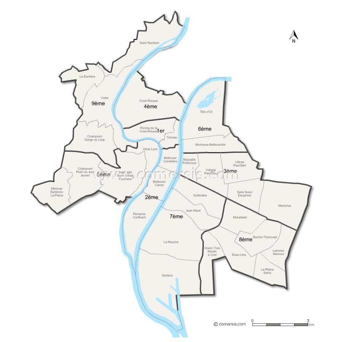 carte des arrondissements de lyon Lyon arrondissement la carte   carte de Lyon arrondissement