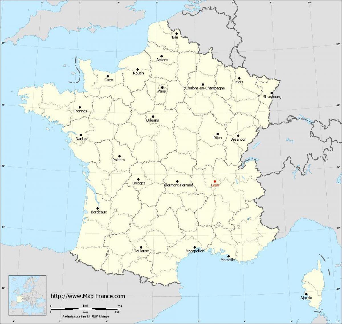 Lyon carte de france   Lyon sur la carte (Auvergne Rhône Alpes