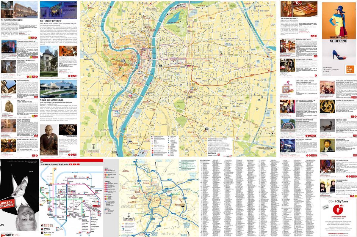 Lyon carte touristique   Lyon france carte touriste en Auvergne